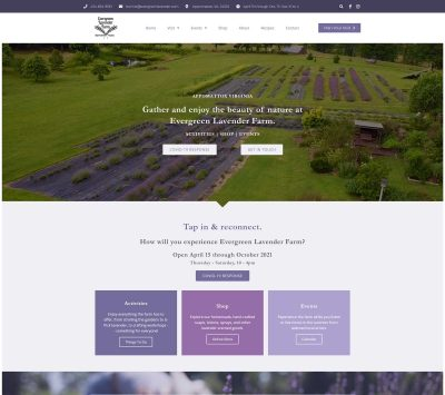 Evergreen Lavender Farm's Joomla website after WoW! Graphic Design coverted it to WordPress