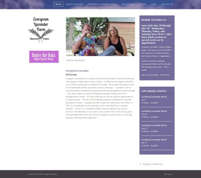 Evergreen Lavender Farm's Joomla website before WoW! Graphic Design coverted it to WordPress