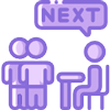"""Purple consultation icon, with three people talking and """"next"""" bubble above their head."""