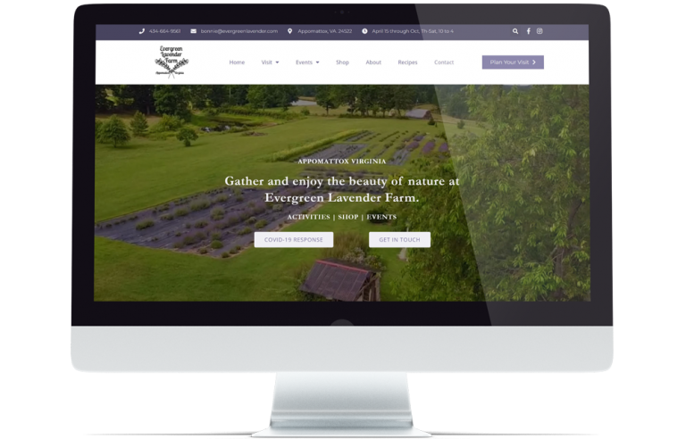 Computer with Evergreen Lavender website.