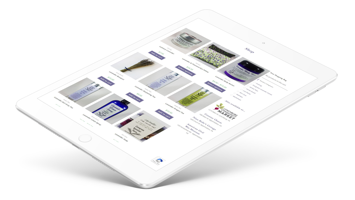 Ipad with Evergreen Lavender website showing responsive design.