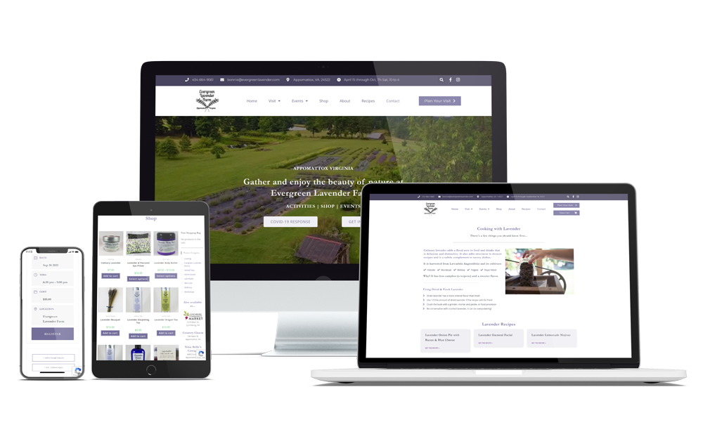 Computer, laptop, ipad, and iphone with Evergreen Lavender website showing responsive custom WordPress theme.