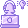 Purple phone call icon, person wearing headset, sitting behind computer