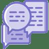 Purple chat bubbles icon