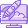 Purple website launch icon, with computer screen and rocket launching