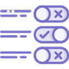 Purple icon with option slider buttons