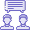 Purple icon with two people talking